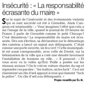 """Alain Carignon dans le """" Dauphiné """" du 1 er septembre"""