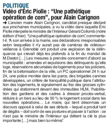 Alain Carignon a répondu à E.Piolle en lui proposant des mesures concrètes pour lutter contre la délinquance ...