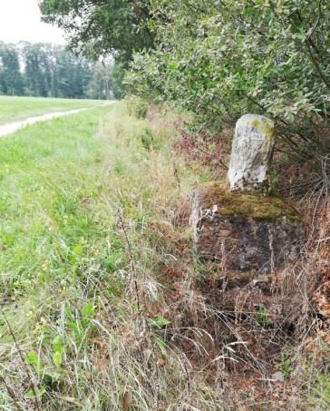 De grenspaal aan het boerenpad bij Ellebrock