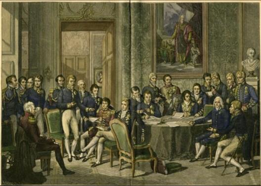 Schilderij van een bijeenkomst bij het Congres van Wenen (met Metternich en Talleyrand), van Wikipedia