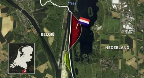 Kaartje van de landruil van schiereilandjes in de Maas
