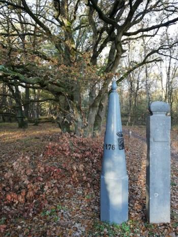 Douanepaal en grenspaal aan de rand van het Leenderbos