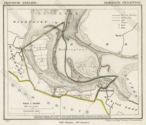 Kaartje van de Braakman en Philippine uit 1868