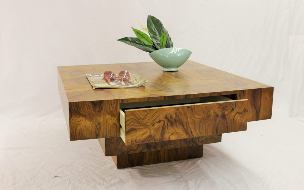milo baughman square coffee table | specializing in mid century