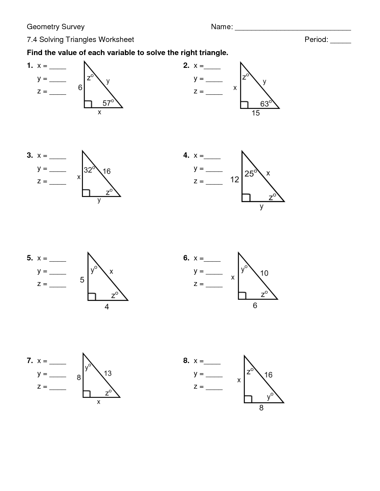 32 Geometry Special Right Triangles Worksheet