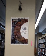 """""""in this aisle"""" book cover at end of shelving"""