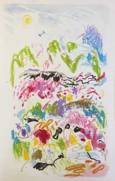 Flinders Landscape, 2017, watercolour & oil pastel on 640 gm Canson Heritage paper