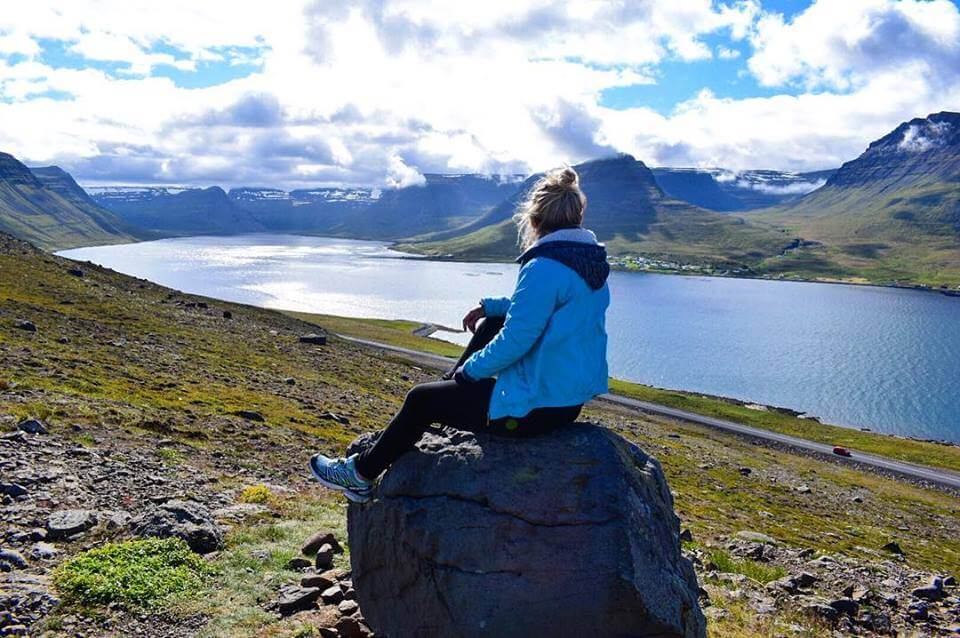 Enjoying the view while driving in the Westfjords