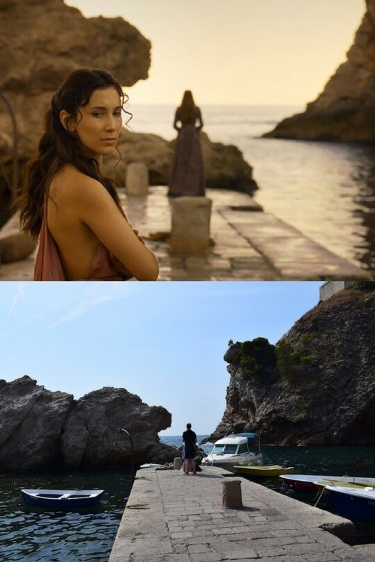 Shae and Sansa in Blackwater Bay in Episode X, Season X above, the real life pier below