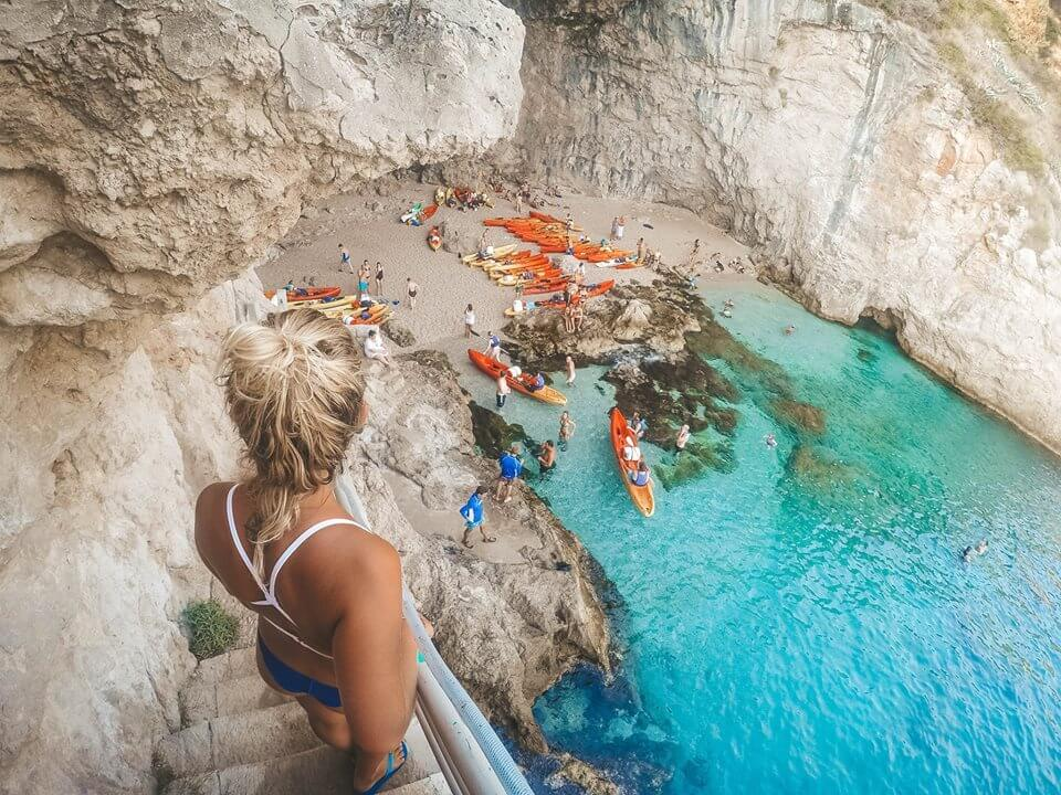 """A """"hidden"""" cave where the kayak sunset tour stops for a swim, snorkel and cliff diving break"""