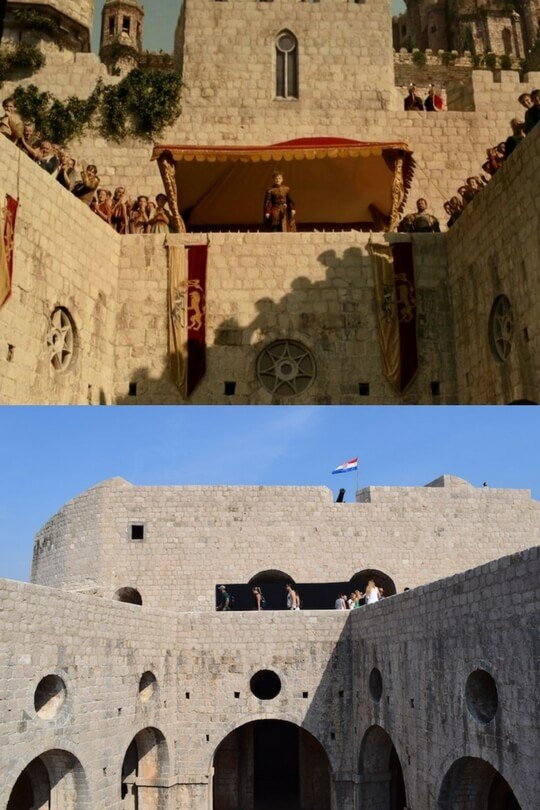 Joffrey's name day (Episode X in Season X) above and Lovrijenac fort below