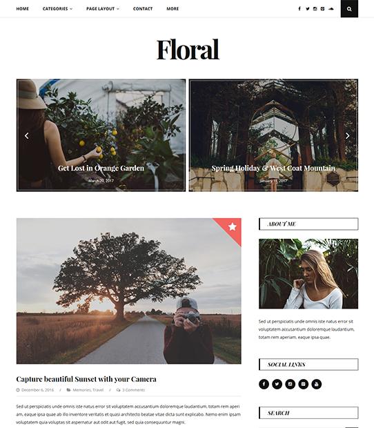 floral wordpress blog theme