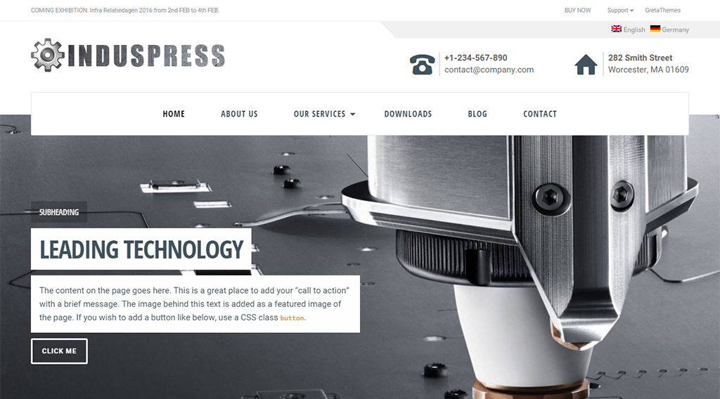 induspress wordpress business theme