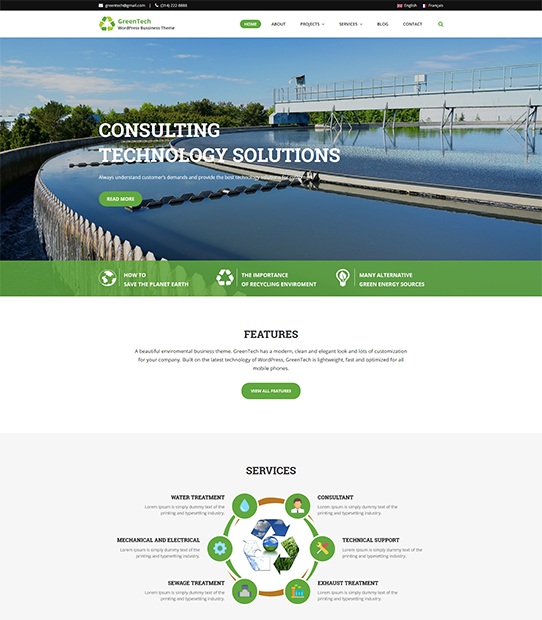 greentech wordpress business theme