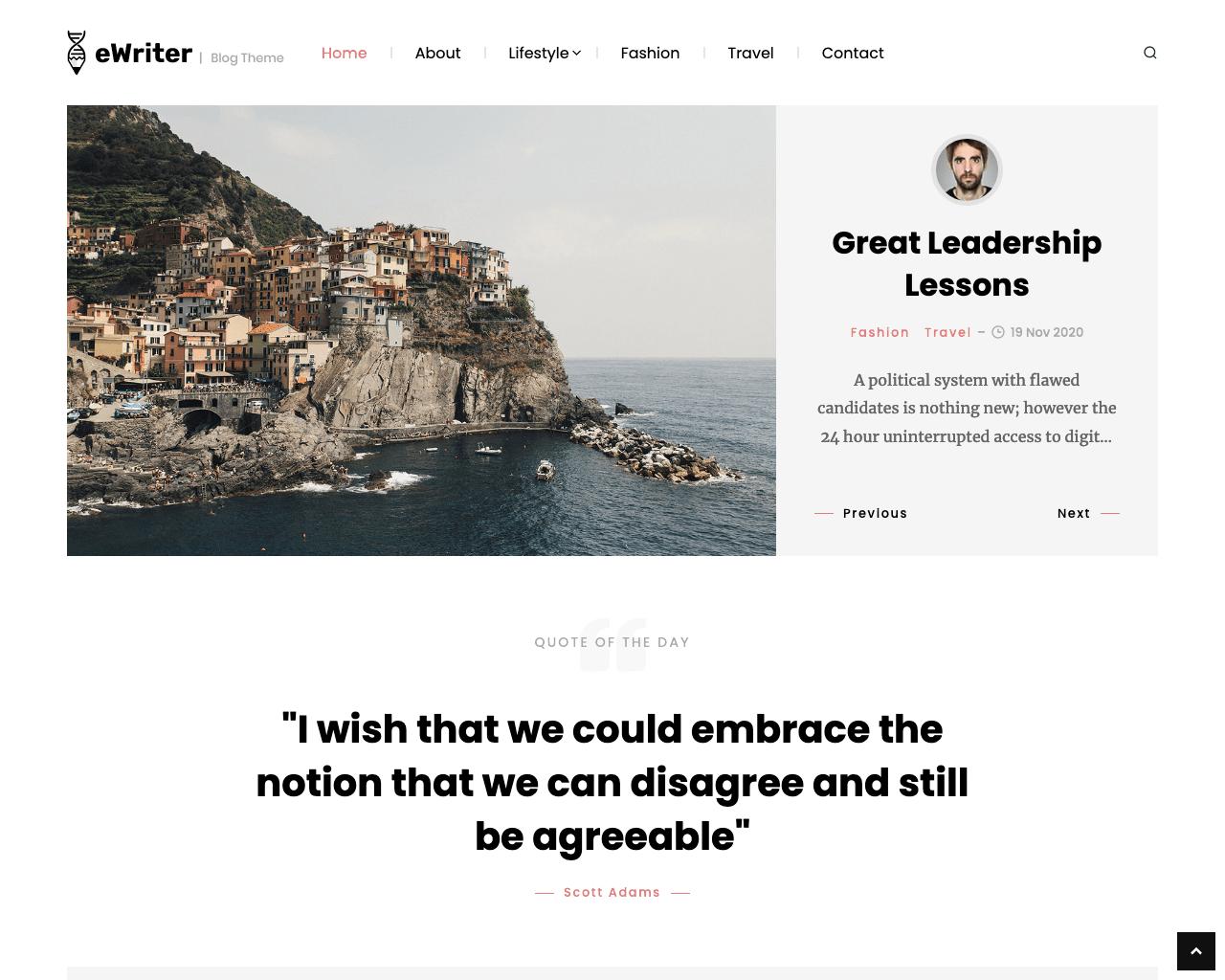 eWriter WordPress blog theme