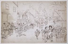 sketch of a market scene in Batavia