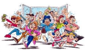 Crowd Bursting Through Door --- Image by © Images.com/Corbis