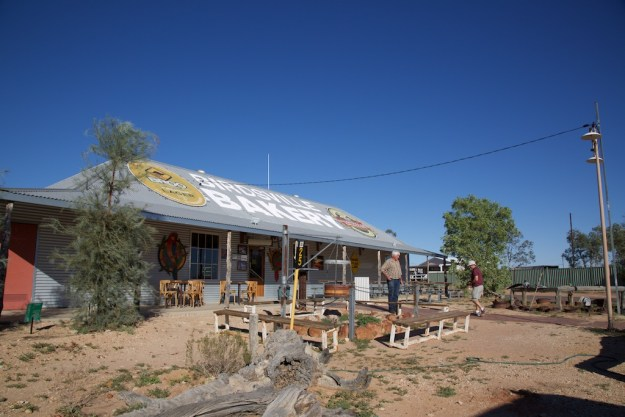 The Birdsville Bakery. And that gentleman with his hands on his hips is Trevor Wright, dictator of William Creek