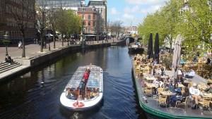 Canal boat in Leiden