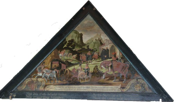 One of the panels set in the roof rafters of the covered bridge