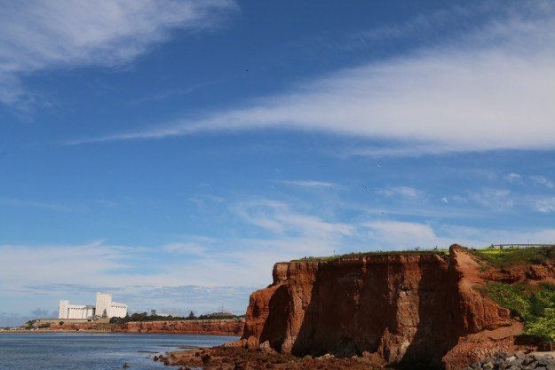 Dark red cliffs and the grain silo at the port
