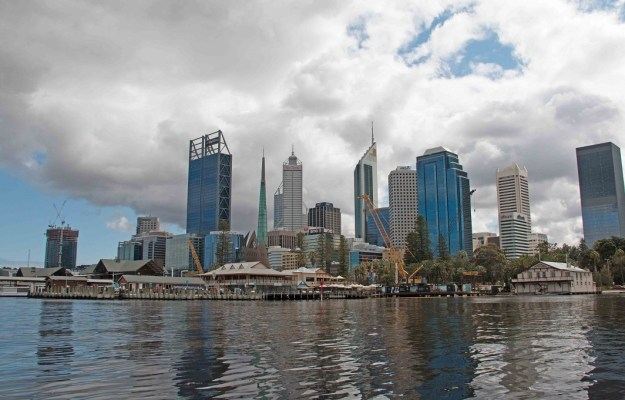 Perth city from the river. We've passed under the Causeway bridges and are on Perth Water.