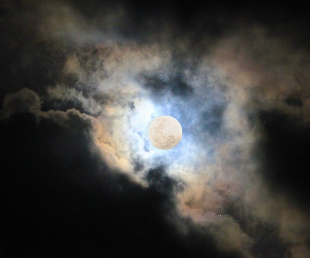 The full moon in cloud. So atmospheric.