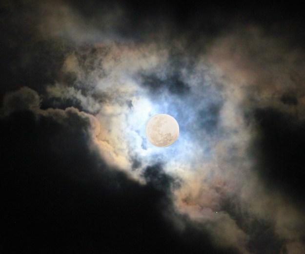 The full moon in cloud. So atmospheric.