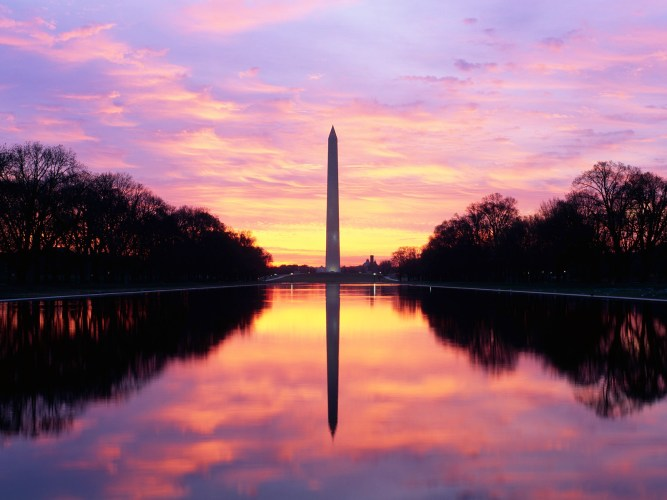 1997, Washington, DC, USA --- Reflecting Pool and the Washington Monument --- Image by © Joseph Sohm; Visions of America/CORBIS