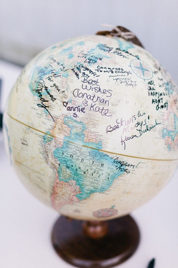 use a globe as a guest book