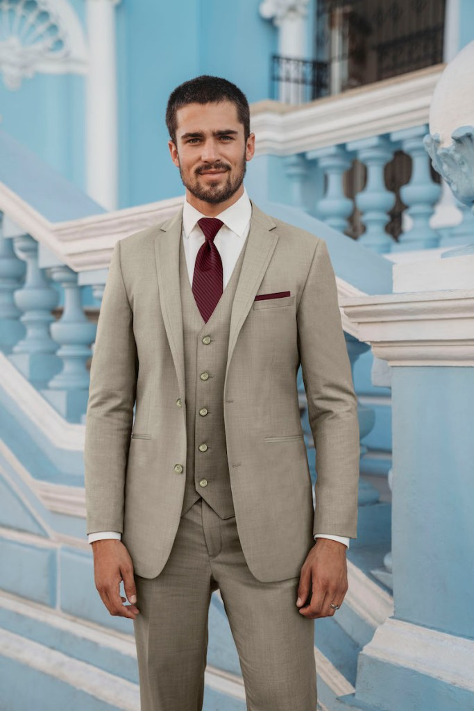 beige men's suit for wedding