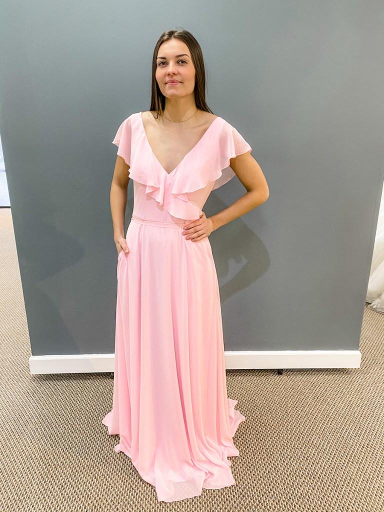 blush pink bridesmaids gown