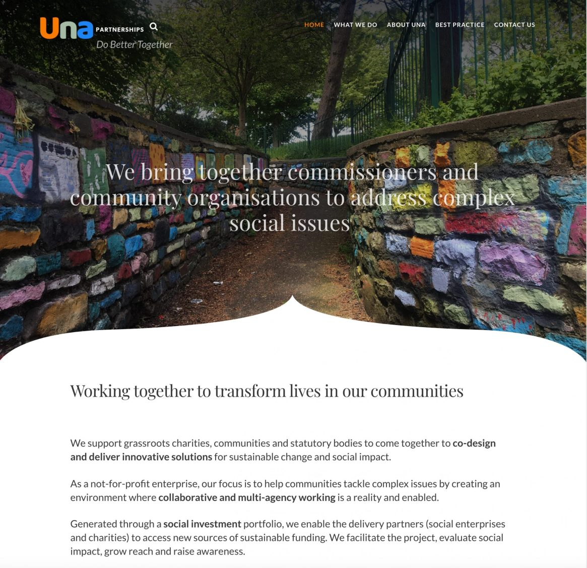 Una Partnerships facilitating community development, best practise and social impact