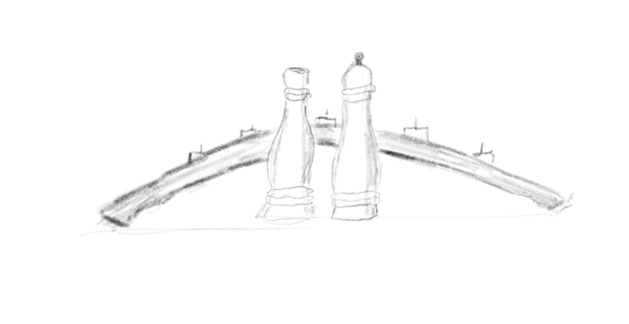Sketch of salt and pepper grinders, sitting in front of an arched candle holder.