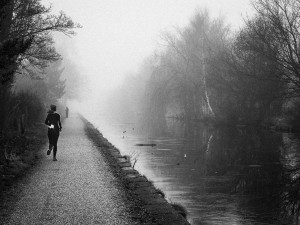 Misty morning with jogger