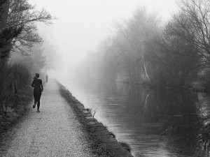 Misty morning with jogger (retouched)