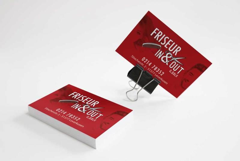 finales Printdesign Visitenkarten Friseur IN&OUT