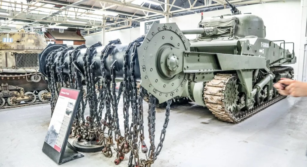 Visiting the Tank Museum - Grey Globetrotters. The American Sherman Crab Tank