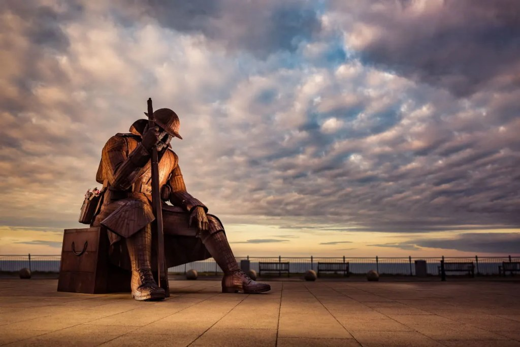 """Massive steel sculpture of """"Tommy"""" oppsite the war memorial at Seaham, on the Durham Heritage Coast"""