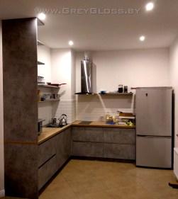"""Кухня без ручек под бетон, плитка """"кабанчик"""""""