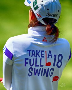 Sakura Yokomine, who finished T-9 at the Portland Classic, wore her philosophy on her back. Photo by Scott H. Bisch