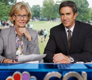 World Golf Hall of Famer Judy Rankin offers some of the best and most respected on-course analysis in the game. Here she is on the set with Golf Channel play-by-play host Terry Gannon. Photo courtesy Golf Channe