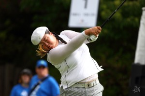 Christina Kim, shown here in action Saturday, had Sunday's low round (66) to rise to a tie for 8th. Photo by Scott H. Bisch
