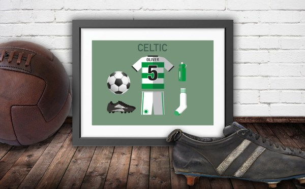 Personalised Celtic vintage football kit