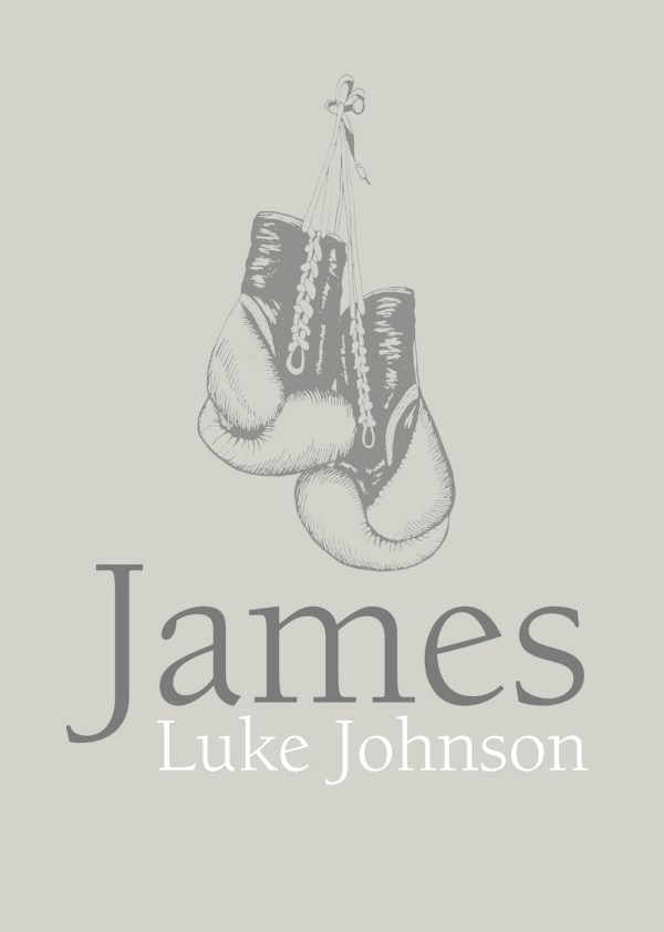 Vintage boxing gloves artwork personalised with your name