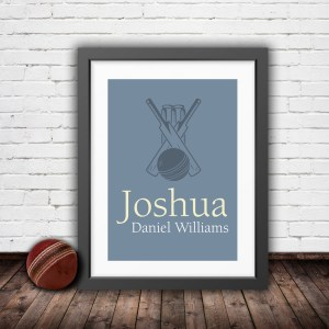 Personalised vintage cricket bat and ball in a pastel blue