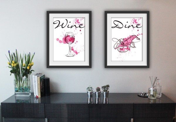 Wine and Dine Contemporary Framed Artwork