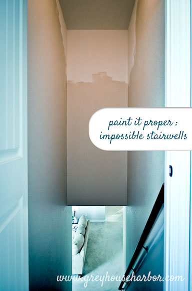 Paint It Proper How To Paint A Tall Stairwell Grey House Harbor