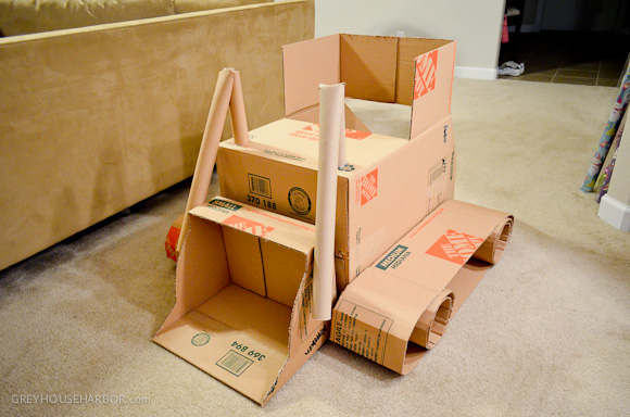 DIY Cardboard Box Bulldozer