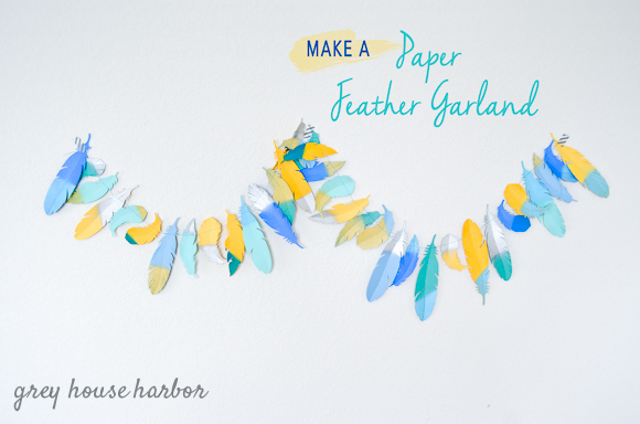 paper feather garland DIY  |  greyhouseharbor.com